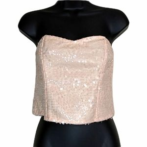 Forever 21 Blush Pink Sequins Corset Bustier Strapless Top